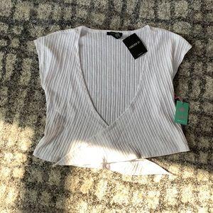 White Midriff Tie Top